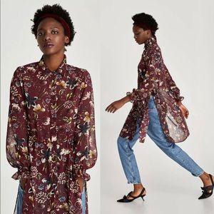 ZARA BASIC Maroon Floral Print Blouse